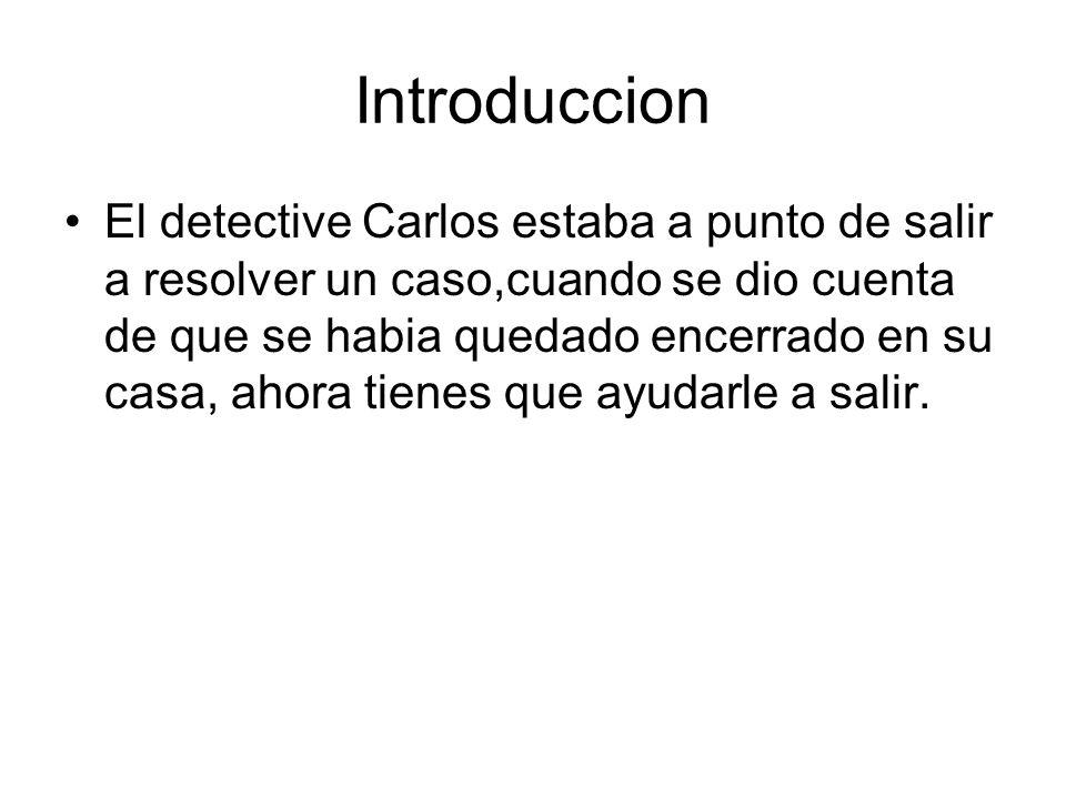 Introduccion El detective Carlos estaba a punto de salir a resolver un caso,cuando se dio cuenta de que se habia quedado encerrado en su casa, ahora t