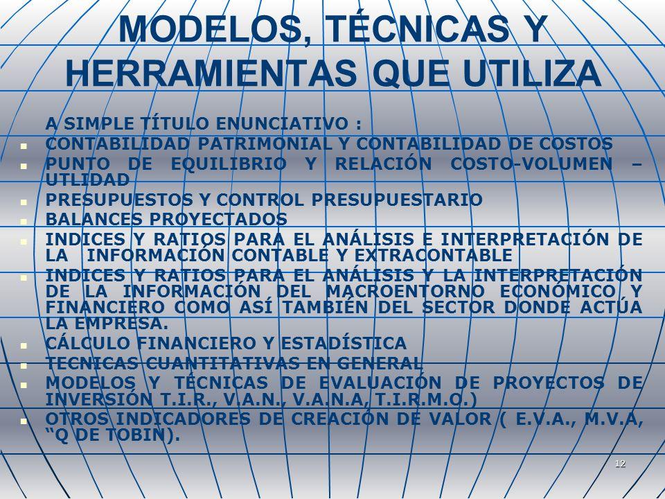 12 MODELOS, TÉCNICAS Y HERRAMIENTAS QUE UTILIZA A SIMPLE TÍTULO ENUNCIATIVO : CONTABILIDAD PATRIMONIAL Y CONTABILIDAD DE COSTOS PUNTO DE EQUILIBRIO Y RELACIÓN COSTO-VOLUMEN – UTLIDAD PRESUPUESTOS Y CONTROL PRESUPUESTARIO BALANCES PROYECTADOS INDICES Y RATIOS PARA EL ANÁLISIS E INTERPRETACIÓN DE LA INFORMACIÓN CONTABLE Y EXTRACONTABLE INDICES Y RATIOS PARA EL ANÁLISIS Y LA INTERPRETACIÓN DE LA INFORMACIÓN DEL MACROENTORNO ECONÓMICO Y FINANCIERO COMO ASÍ TAMBIÉN DEL SECTOR DONDE ACTÚA LA EMPRESA.