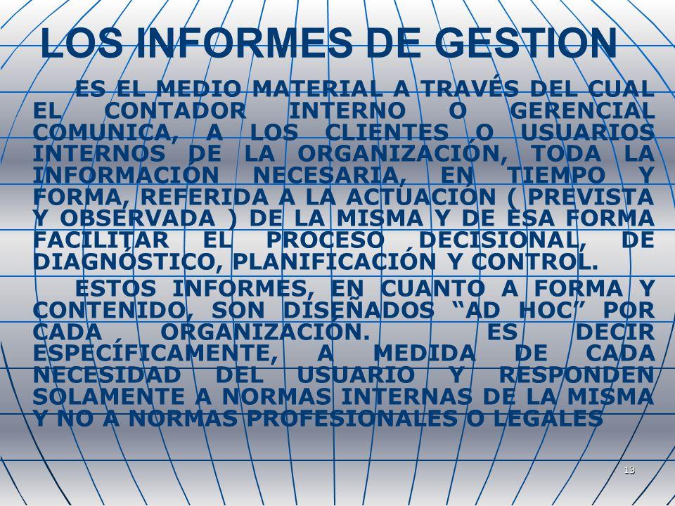 13 LOS INFORMES DE GESTION ES EL MEDIO MATERIAL A TRAVÉS DEL CUAL EL CONTADOR INTERNO O GERENCIAL COMUNICA, A LOS CLIENTES O USUARIOS INTERNOS DE LA ORGANIZACIÓN, TODA LA INFORMACIÓN NECESARIA, EN TIEMPO Y FORMA, REFERIDA A LA ACTUACIÓN ( PREVISTA Y OBSERVADA ) DE LA MISMA Y DE ESA FORMA FACILITAR EL PROCESO DECISIONAL, DE DIAGNÓSTICO, PLANIFICACIÓN Y CONTROL.