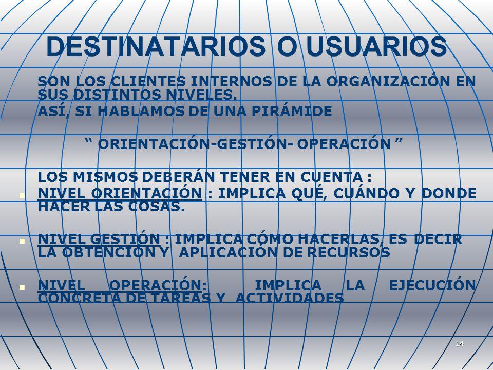 14 DESTINATARIOS O USUARIOS SON LOS CLIENTES INTERNOS DE LA ORGANIZACIÓN EN SUS DISTINTOS NIVELES. ASÍ, SI HABLAMOS DE UNA PIRÁMIDE ORIENTACIÓN-GESTIÓ