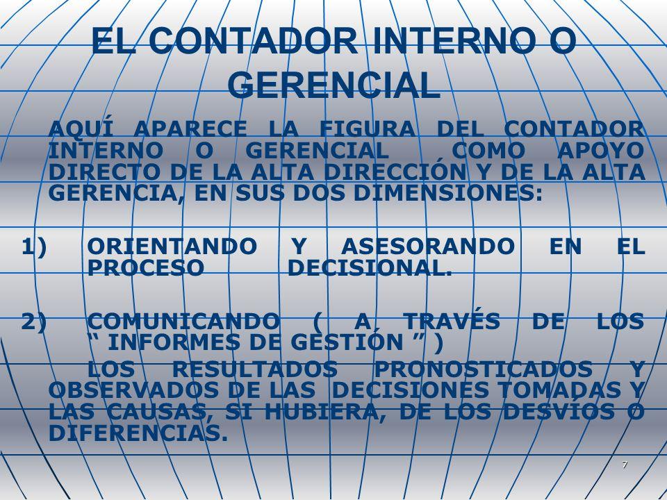 7 EL CONTADOR INTERNO O GERENCIAL AQUÍ APARECE LA FIGURA DEL CONTADOR INTERNO O GERENCIAL COMO APOYO DIRECTO DE LA ALTA DIRECCIÓN Y DE LA ALTA GERENCIA, EN SUS DOS DIMENSIONES: 1)ORIENTANDO Y ASESORANDO EN EL PROCESO DECISIONAL.