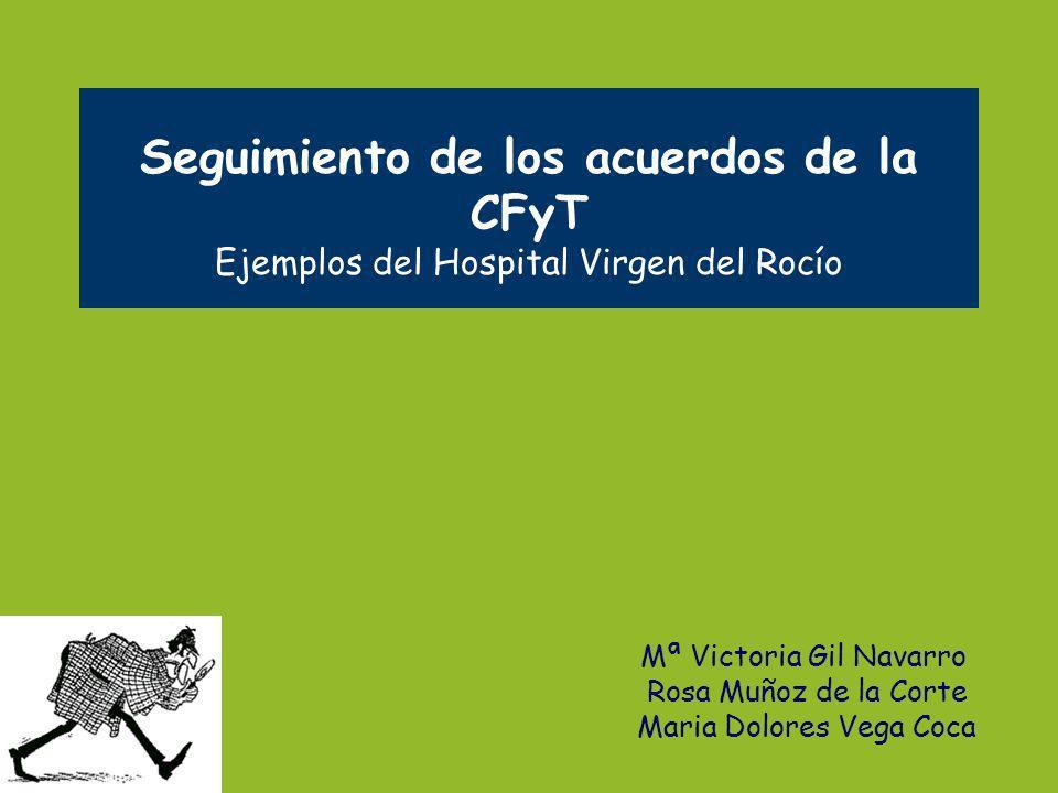 Seguimiento de los acuerdos de la CFyT Ejemplos del Hospital Virgen del Rocío Mª Victoria Gil Navarro Rosa Muñoz de la Corte Maria Dolores Vega Coca