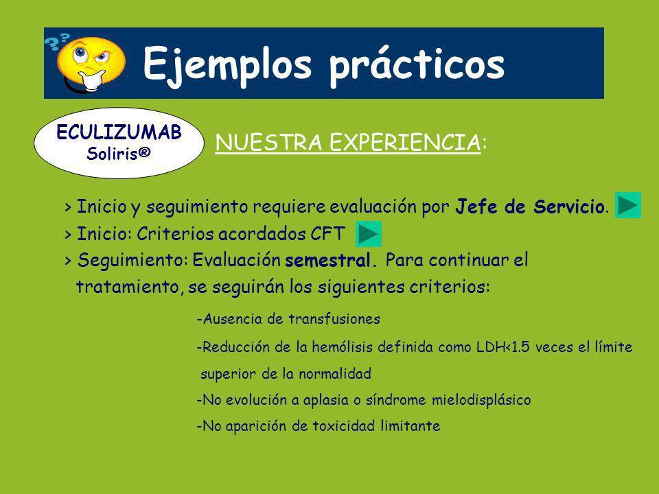 Ejemplos prácticos NUESTRA EXPERIENCIA: > Inicio y seguimiento requiere evaluación por Jefe de Servicio. > Inicio: Criterios acordados CFT > Seguimien