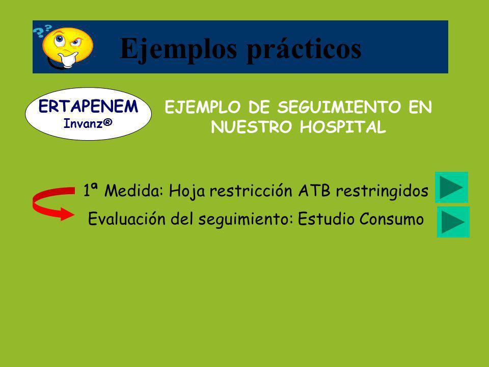 1ª Medida: Hoja restricción ATB restringidos EJEMPLO DE SEGUIMIENTO EN NUESTRO HOSPITAL Ejemplos prácticos ERTAPENEM Invanz® Evaluación del seguimient
