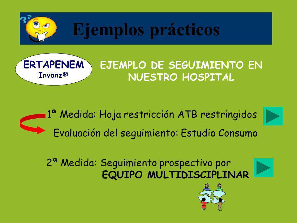 1ª Medida: Hoja restricción ATB restringidos Evaluación del seguimiento: Estudio Consumo EJEMPLO DE SEGUIMIENTO EN NUESTRO HOSPITAL Ejemplos prácticos