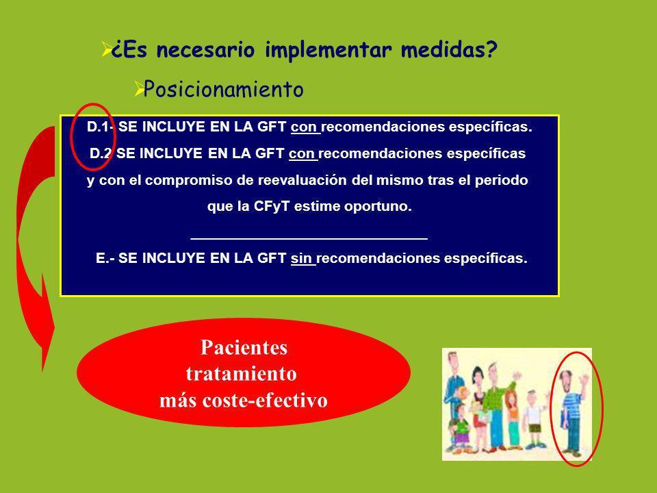 ¿Es necesario implementar medidas? Posicionamiento D.1- SE INCLUYE EN LA GFT con recomendaciones específicas. D.2 SE INCLUYE EN LA GFT con recomendaci