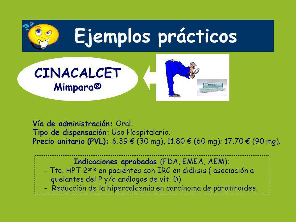 Vía de administración: Oral. Tipo de dispensación: Uso Hospitalario. Precio unitario (PVL): 6.39 (30 mg), 11.80 (60 mg); 17.70 (90 mg). Ejemplos práct