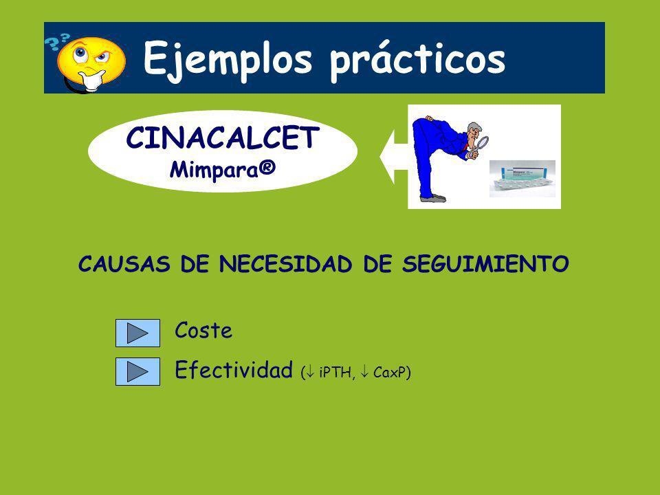 Ejemplos prácticos CINACALCET Mimpara® CAUSAS DE NECESIDAD DE SEGUIMIENTO Coste Efectividad ( iPTH, CaxP)