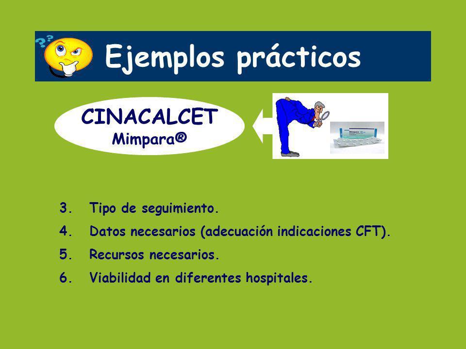 Ejemplos prácticos CINACALCET Mimpara® 3. Tipo de seguimiento. 4. Datos necesarios (adecuación indicaciones CFT). 5. Recursos necesarios. 6. Viabilida