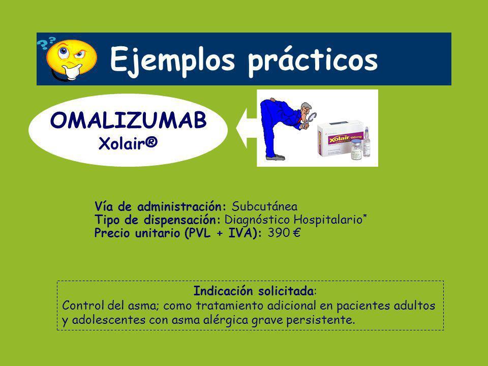 Vía de administración: Subcutánea Tipo de dispensación: Diagnóstico Hospitalario * Precio unitario (PVL + IVA): 390 Ejemplos prácticos OMALIZUMAB Xola