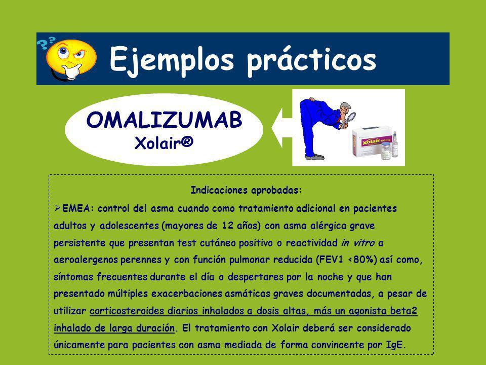 Ejemplos prácticos OMALIZUMAB Xolair® Indicaciones aprobadas: EMEA: control del asma cuando como tratamiento adicional en pacientes adultos y adolesce
