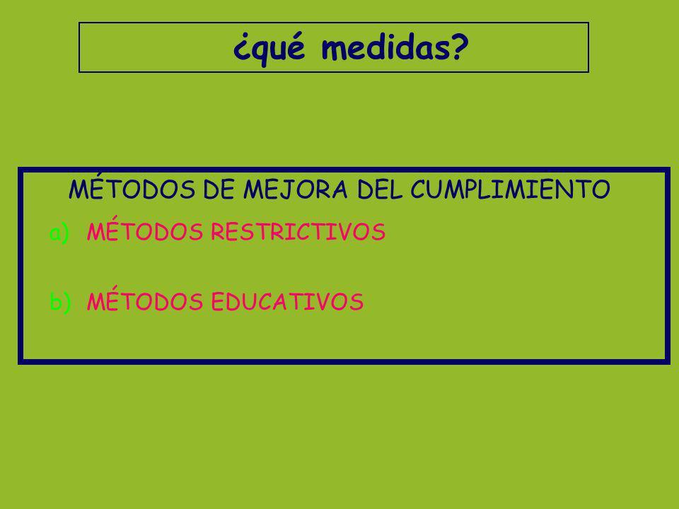 ¿qué medidas? MÉTODOS DE MEJORA DEL CUMPLIMIENTO a)MÉTODOS RESTRICTIVOS b)MÉTODOS EDUCATIVOS