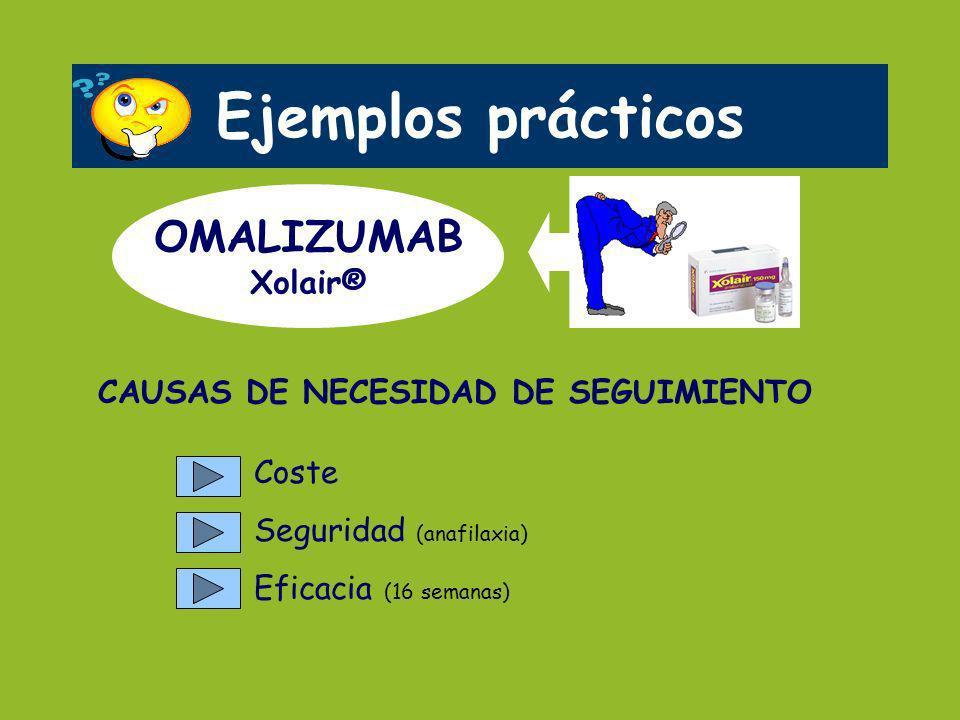 Ejemplos prácticos OMALIZUMAB Xolair® CAUSAS DE NECESIDAD DE SEGUIMIENTO Coste Seguridad (anafilaxia) Eficacia (16 semanas)
