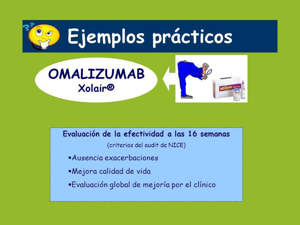 Ejemplos prácticos OMALIZUMAB Xolair® Evaluación de la efectividad a las 16 semanas (criterios del audit de NICE) Ausencia exacerbaciones Mejora calid