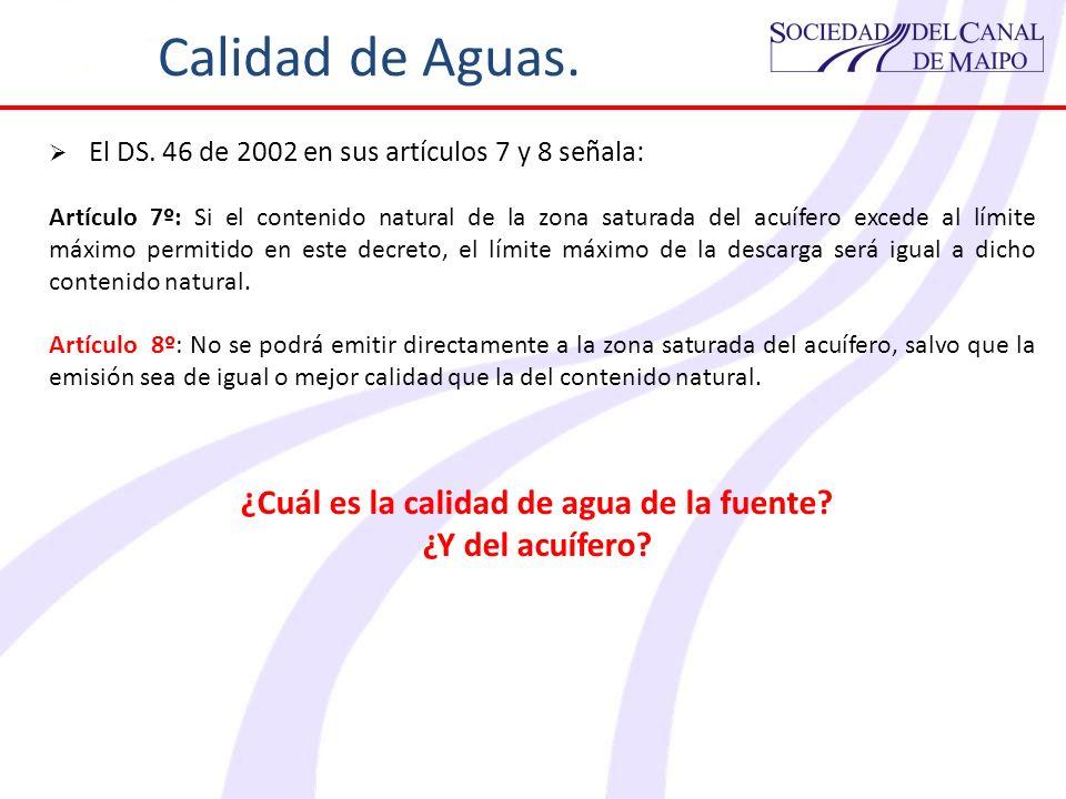 Calidad de Aguas. El DS. 46 de 2002 en sus artículos 7 y 8 señala: Artículo 7º: Si el contenido natural de la zona saturada del acuífero excede al lím