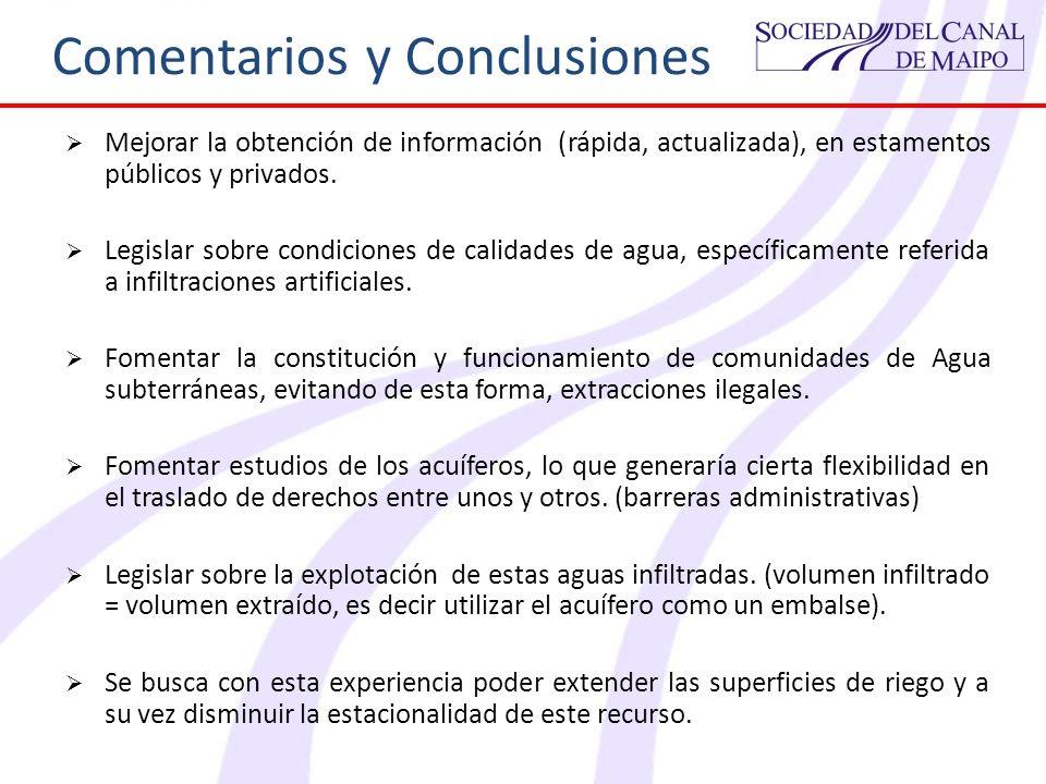 Comentarios y Conclusiones Mejorar la obtención de información (rápida, actualizada), en estamentos públicos y privados. Legislar sobre condiciones de