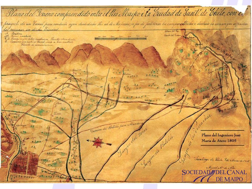 Origen de la SCM Sociedad del Canal de Maipo desde 5 de Julio de 1827 Domingo de Eyzaguirre y Arrechavala Primer Presidente de la Sociedad del Canal de Maipo Impulsor de la Obras de la Sociedad por 43 Años, desde 1811-1854.