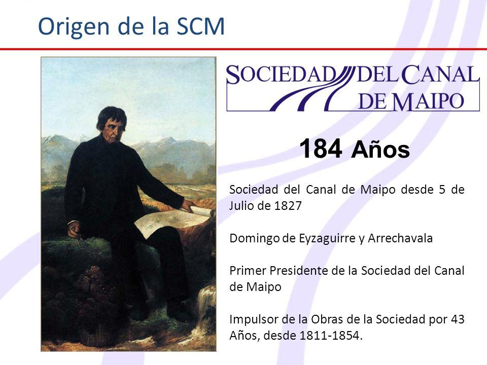 Origen de la SCM Sociedad del Canal de Maipo desde 5 de Julio de 1827 Domingo de Eyzaguirre y Arrechavala Primer Presidente de la Sociedad del Canal d
