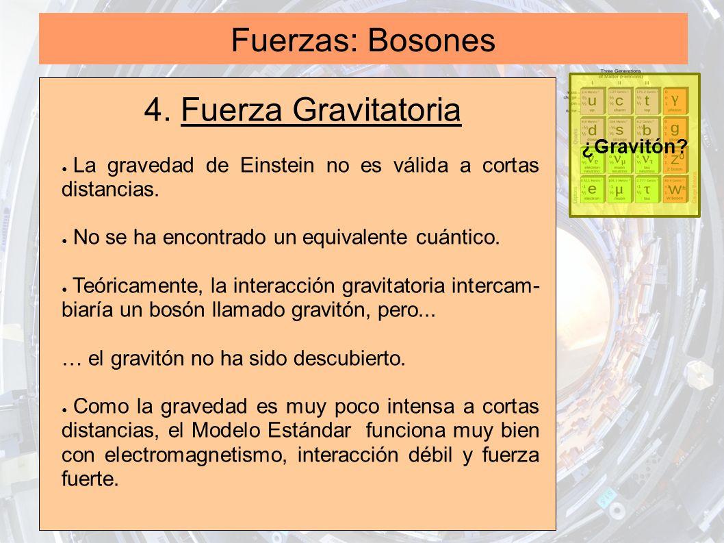 Fuerzas: Bosones 4. Fuerza Gravitatoria La gravedad de Einstein no es válida a cortas distancias. No se ha encontrado un equivalente cuántico. Teórica