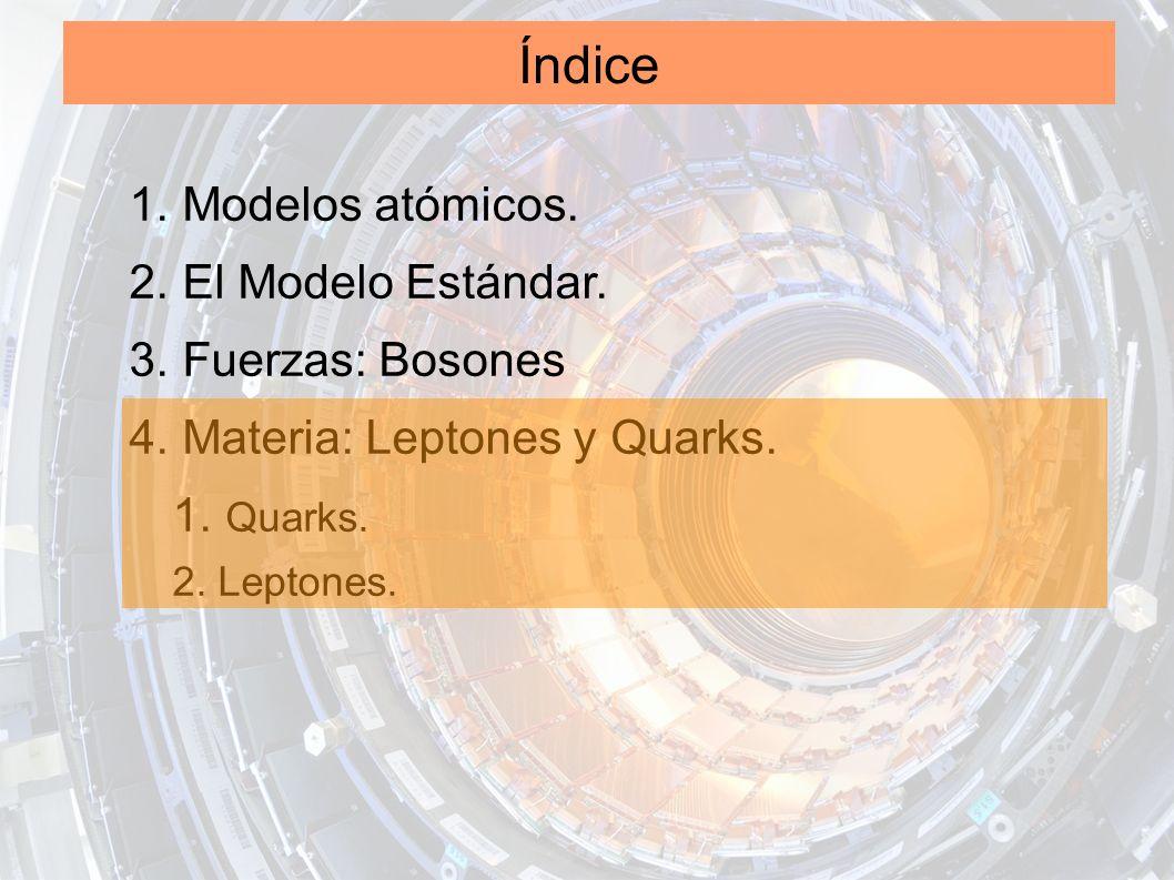 Índice 1. Modelos atómicos. 2. El Modelo Estándar. 3. Fuerzas: Bosones 4. Materia: Leptones y Quarks. 1. Quarks. 2. Leptones.