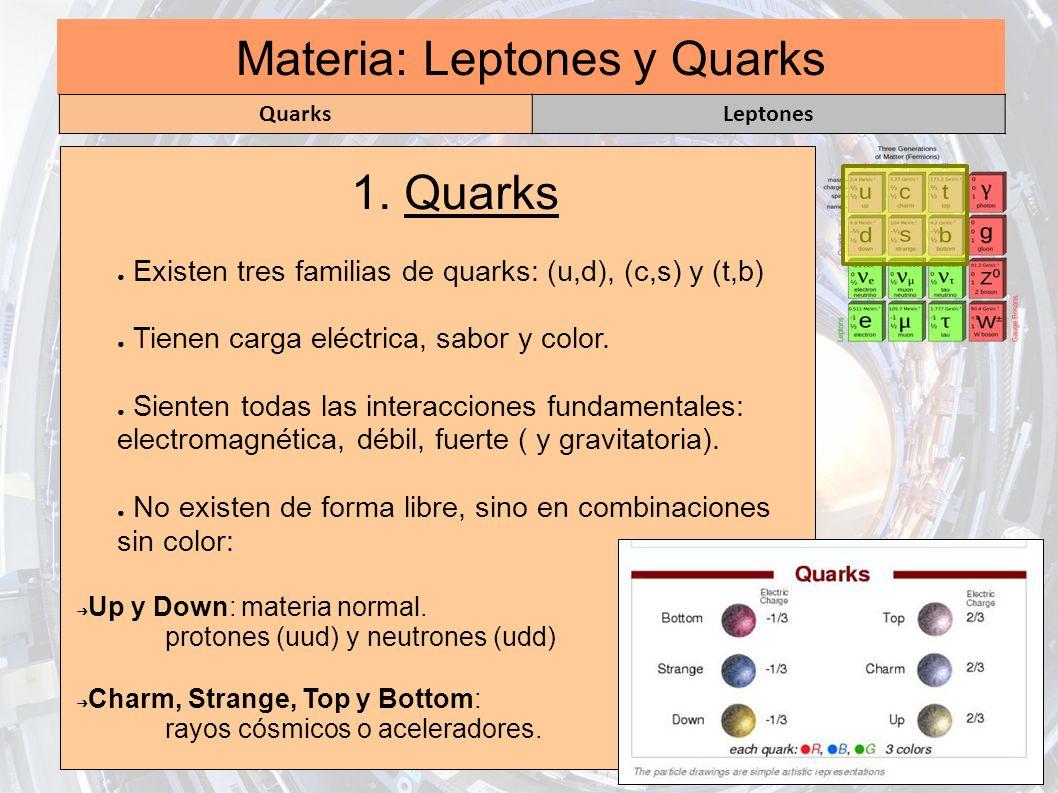Materia: Leptones y Quarks 1. Quarks Existen tres familias de quarks: (u,d), (c,s) y (t,b) Tienen carga eléctrica, sabor y color. Sienten todas las in
