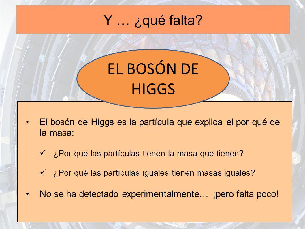 Y … ¿qué falta? El bosón de Higgs es la partícula que explica el por qué de la masa: ¿Por qué las partículas tienen la masa que tienen? ¿Por qué las p