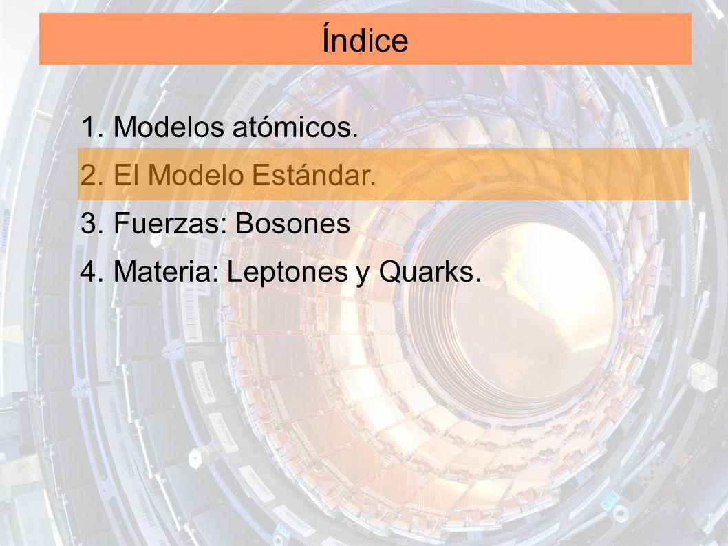 Índice 1. Modelos atómicos. 2. El Modelo Estándar. 3. Fuerzas: Bosones 4. Materia: Leptones y Quarks.