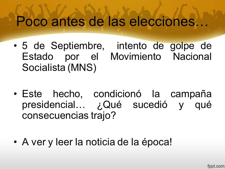 Poco antes de las elecciones… 5 de Septiembre, intento de golpe de Estado por el Movimiento Nacional Socialista (MNS) Este hecho, condicionó la campañ