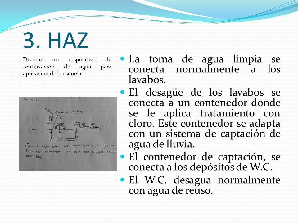 3.HAZ Diseñar un dispositivo de reutilización de agua para aplicación de la escuela.