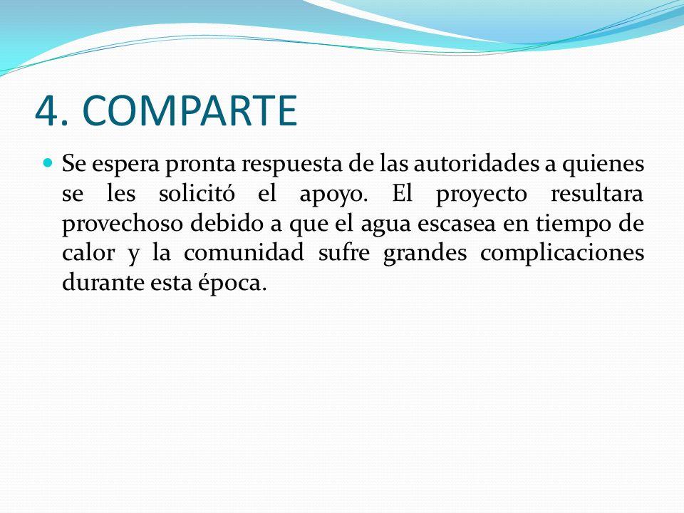 4.COMPARTE Se espera pronta respuesta de las autoridades a quienes se les solicitó el apoyo.
