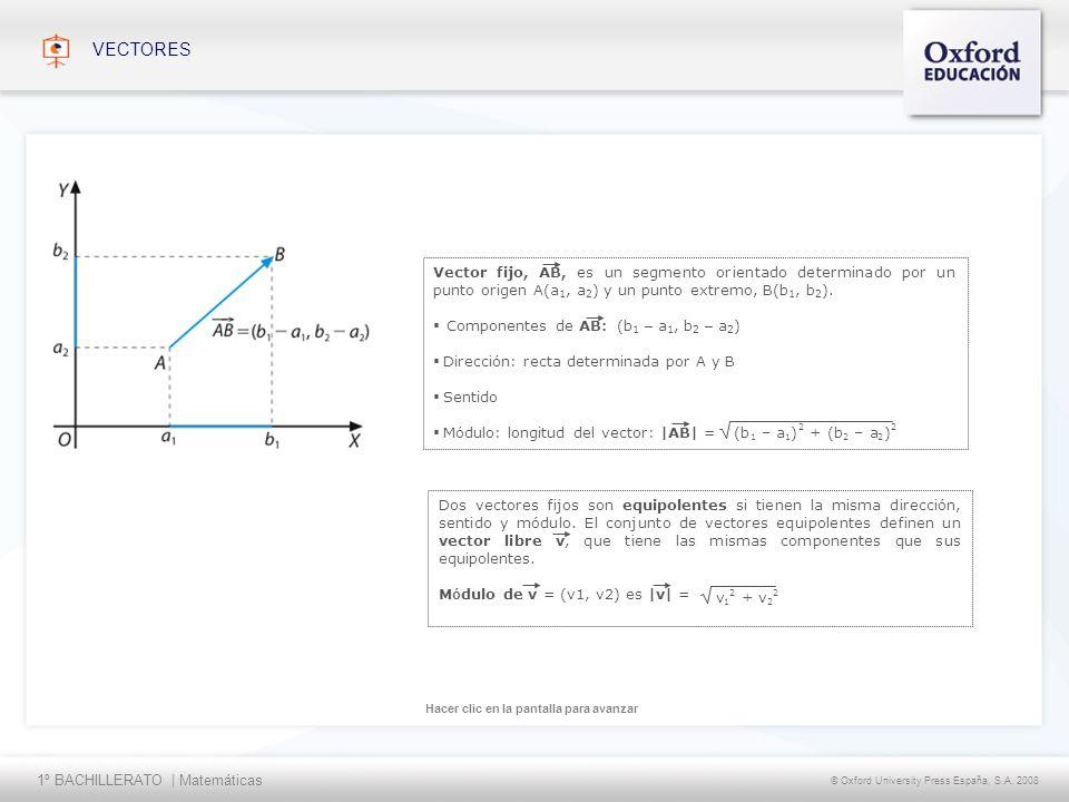 1º BACHILLERATO   Matemáticas © Oxford University Press España, S.A. 2008 Hacer clic en la pantalla para avanzar VECTORES Vector fijo, AB, es un segme