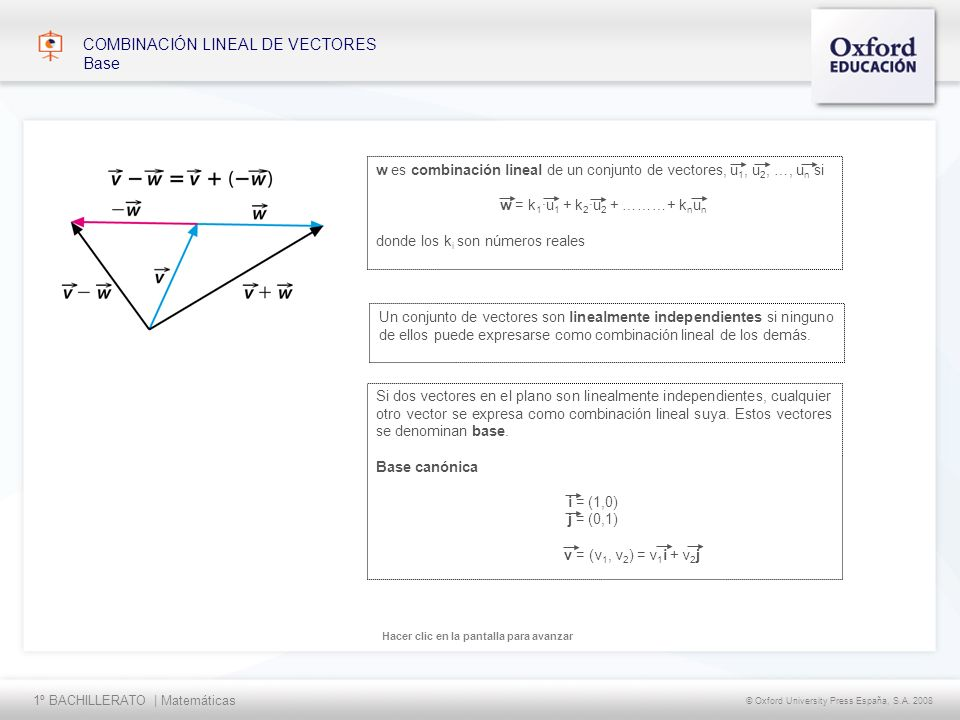 1º BACHILLERATO   Matemáticas © Oxford University Press España, S.A. 2008 Hacer clic en la pantalla para avanzar COMBINACIÓN LINEAL DE VECTORES Base U