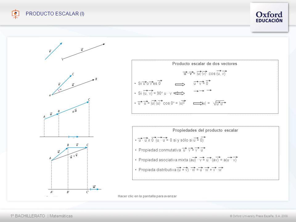 1º BACHILLERATO   Matemáticas © Oxford University Press España, S.A. 2008 Hacer clic en la pantalla para avanzar PRODUCTO ESCALAR (I) Propiedades del