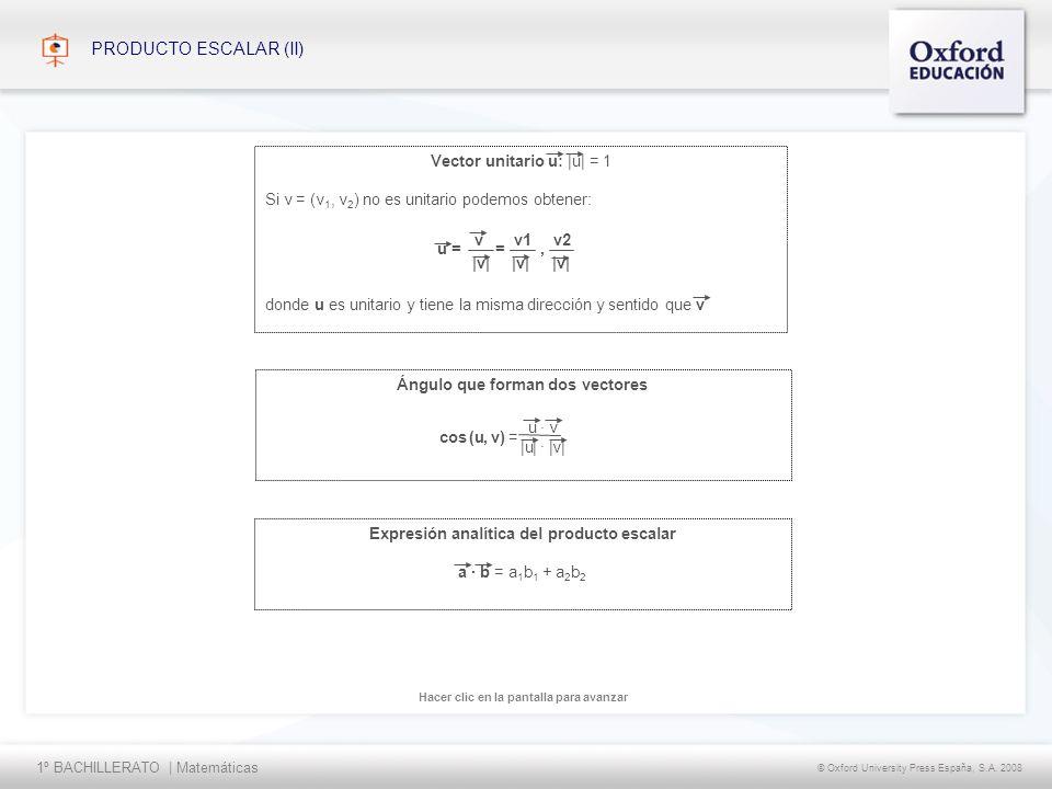 1º BACHILLERATO   Matemáticas © Oxford University Press España, S.A. 2008 Hacer clic en la pantalla para avanzar PRODUCTO ESCALAR (II) Expresión analí