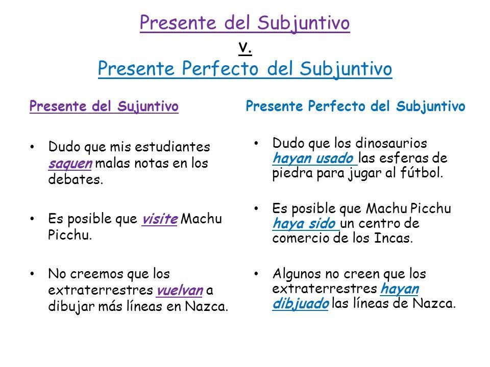 Presente del Subjuntivo v. Presente Perfecto del Subjuntivo Presente del Sujuntivo Dudo que mis estudiantes saquen malas notas en los debates. Es posi