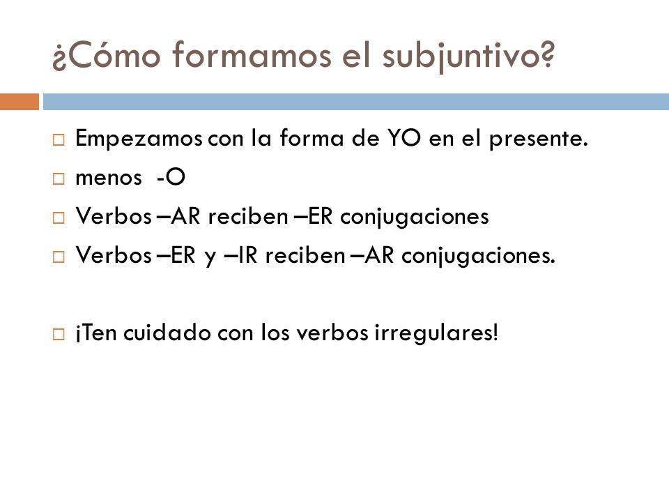 ¿Cómo formamos el subjuntivo.Empezamos con la forma de YO en el presente.