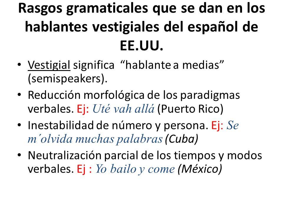 Rasgos gramaticales que se dan en los hablantes vestigiales del español de EE.UU. Vestigial significa hablante a medias (semispeakers). Reducción morf