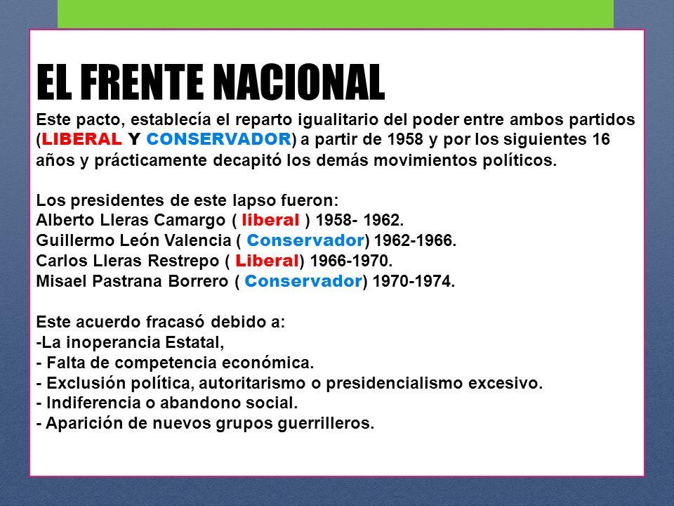 EL FRENTE NACIONAL Este pacto, establecía el reparto igualitario del poder entre ambos partidos ( LIBERAL Y CONSERVADOR ) a partir de 1958 y por los s