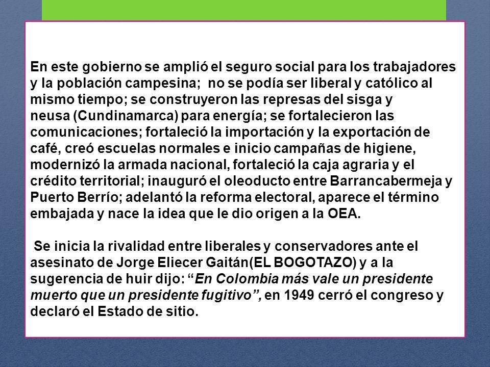 EL FRENTE NACIONAL Este pacto, establecía el reparto igualitario del poder entre ambos partidos ( LIBERAL Y CONSERVADOR ) a partir de 1958 y por los siguientes 16 años y prácticamente decapitó los demás movimientos políticos.