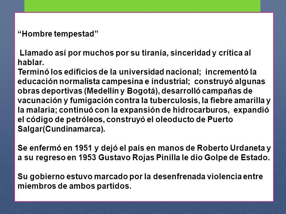 Con la llegada de Laureano Gómez al poder, como jefe de un partido minoritario se agudizó la violencia en el país porque para sostenerse tuvo que recurrir a la persecución, a la represión y a la exclusión de los liberales del gobierno, a quienes consideraba como comunistas y revolucionarios.