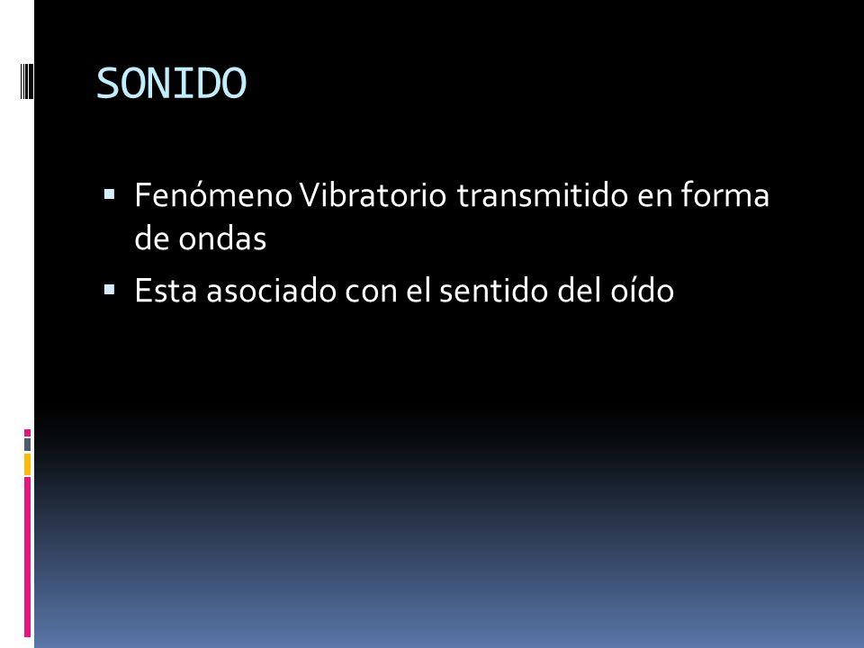 SONIDO Fenómeno Vibratorio transmitido en forma de ondas Esta asociado con el sentido del oído