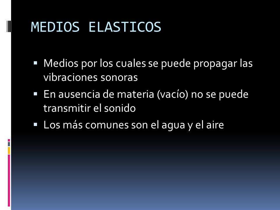 MEDIOS ELASTICOS Medios por los cuales se puede propagar las vibraciones sonoras En ausencia de materia (vacío) no se puede transmitir el sonido Los m