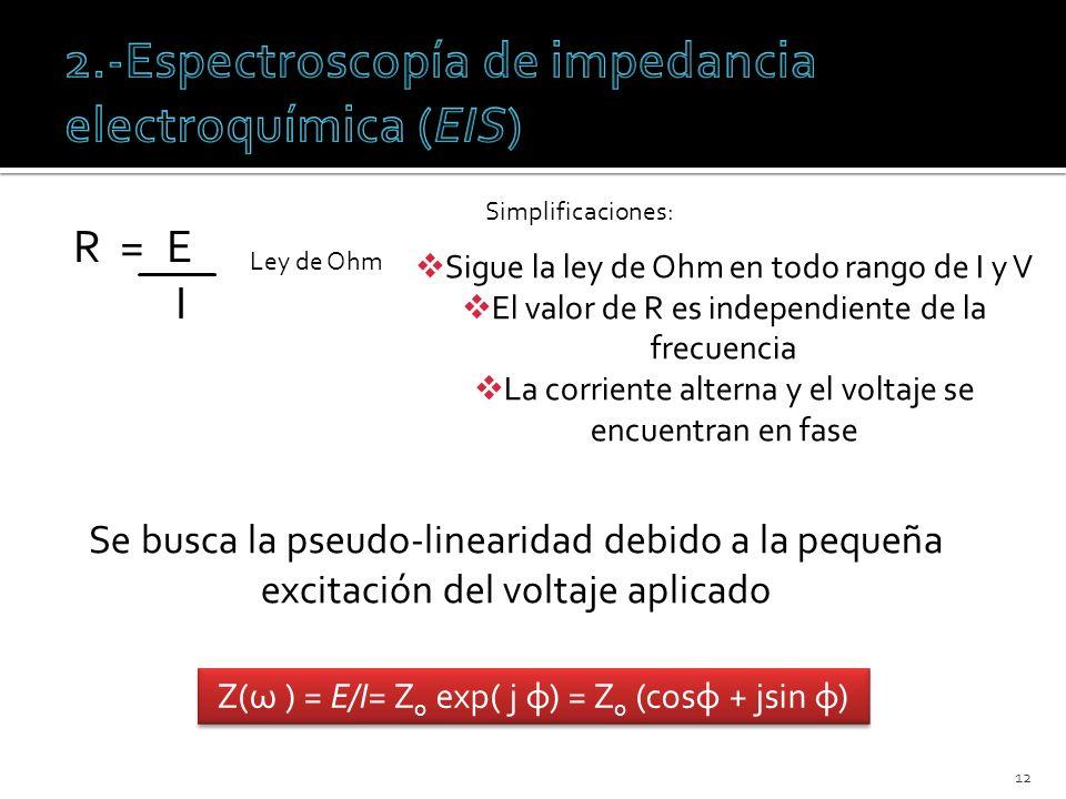 R = E I 12 Ley de Ohm Simplificaciones: Sigue la ley de Ohm en todo rango de I y V El valor de R es independiente de la frecuencia La corriente altern