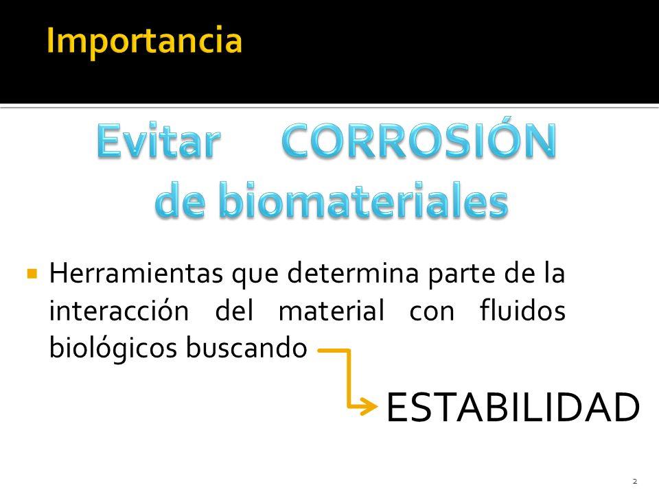 Herramientas que determina parte de la interacción del material con fluidos biológicos buscando 2 ESTABILIDAD