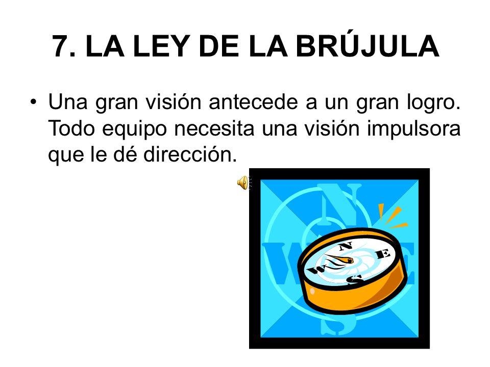 7.LA LEY DE LA BRÚJULA Una gran visión antecede a un gran logro.