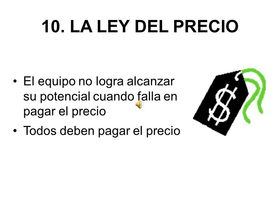 10. LA LEY DEL PRECIO El equipo no logra alcanzar su potencial cuando falla en pagar el precio Todos deben pagar el precio