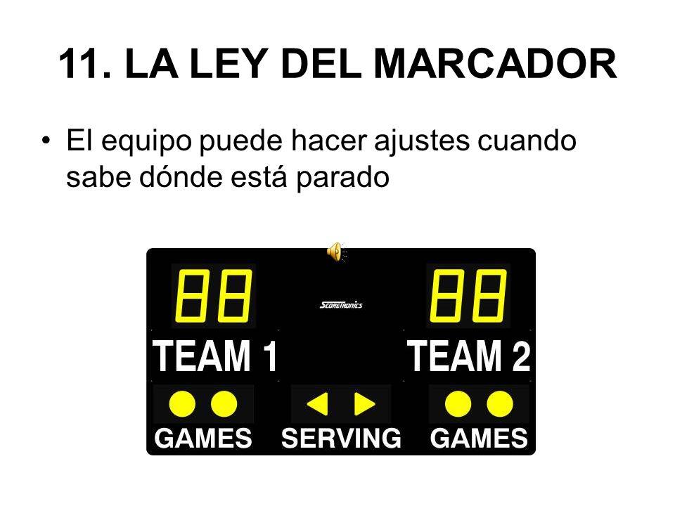 11. LA LEY DEL MARCADOR El equipo puede hacer ajustes cuando sabe dónde está parado