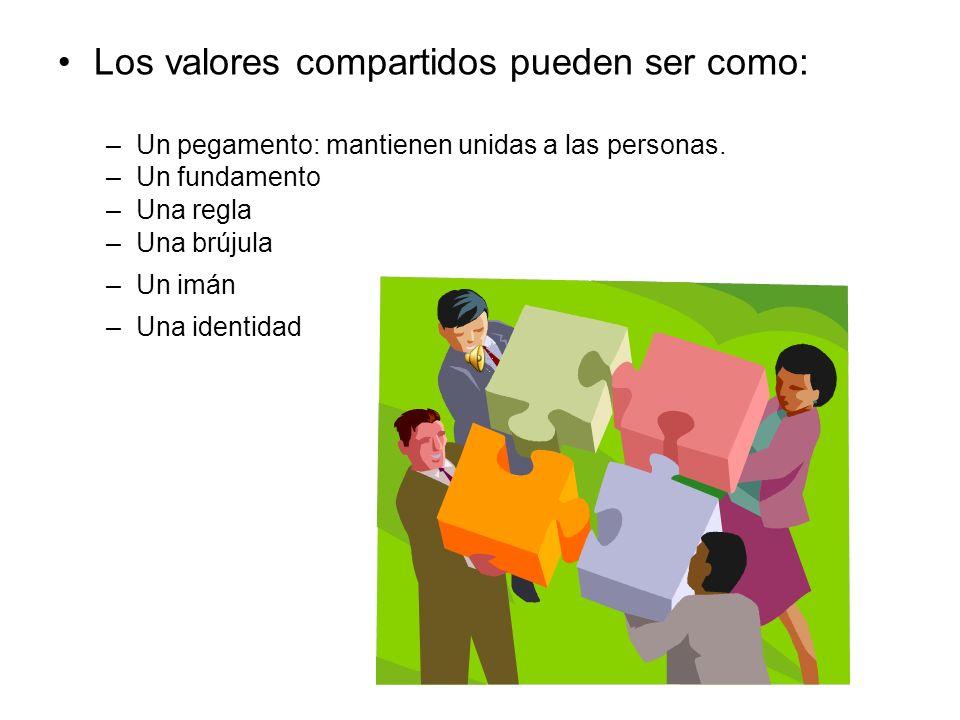 Los valores compartidos pueden ser como: –Un pegamento: mantienen unidas a las personas.