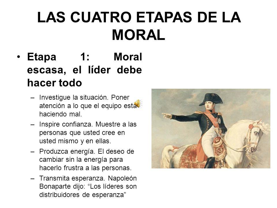 LAS CUATRO ETAPAS DE LA MORAL Etapa 1: Moral escasa, el líder debe hacer todo –Investigue la situación.
