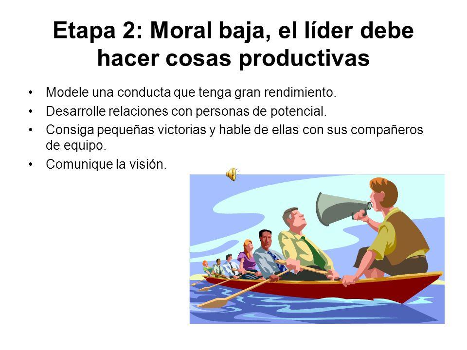 Etapa 2: Moral baja, el líder debe hacer cosas productivas Modele una conducta que tenga gran rendimiento.